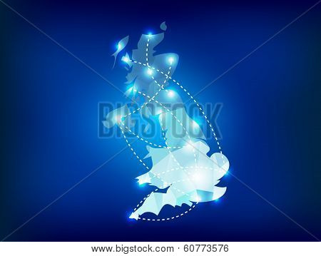 Uk Country Map Polygonal With Spot Lights Places