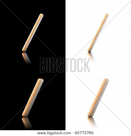 Three Dimensional Wooden Slash Symbol. Isolated On White And Black.