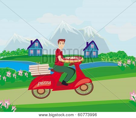 Pizza Delivery Man On A Motorcycle