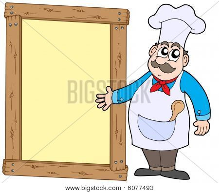 Chef With Wooden Panel