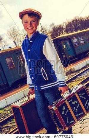 Boy On Trainstation