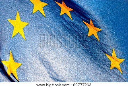 Fragment Of The European Union Flag Waving In Wind