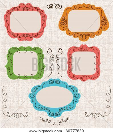 Vintage photo frames set, drawing doodle style, antigue ornamental