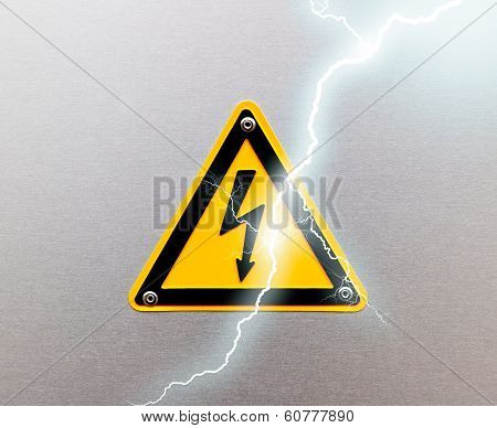 High Voltage Sing On Metal Background