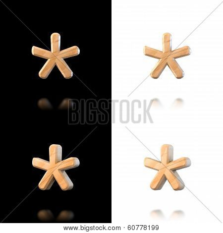 Three Dimensional Wooden Asterisk Symbol. Isolated On White And Black.