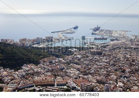 Malaga Downtown Seen From The Air With Its Harbor.