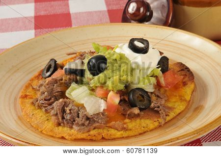 Shredded Beef Tostada