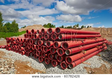 Pvc Pipes On Construction Site