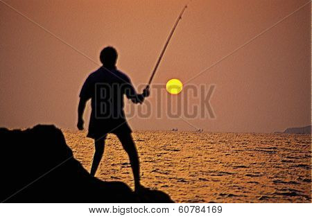 Silhouette Of A Fisherman. Hermal Beach. Goa, India