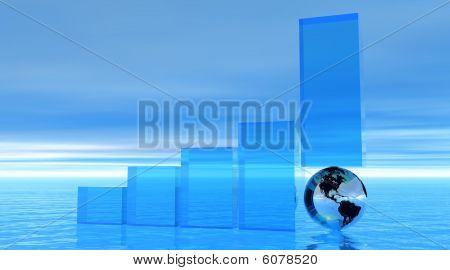 Progress bar upon an earth in histogram