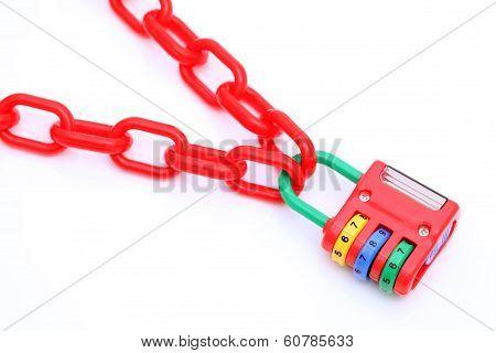 plastic padlock and chain