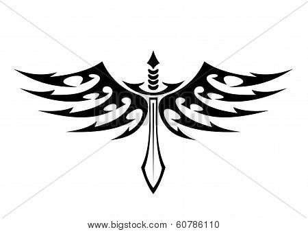 Winged sword tattoo with barbed feathers