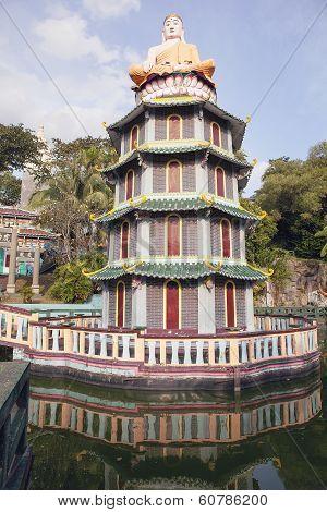 Buddha Statue Sitting On Top Of Pagoda