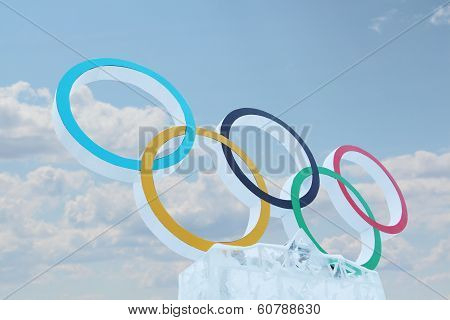 Perm, Russia - Jan 6, 2014: Blue Sky And Symbol Of Olympic Games In Ice Town, Created In Honor Of Wi