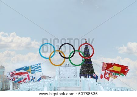 Perm, Russia - Jan 6, 2014: Big Symbol Of Olympic Games In Ice Town, Created In Honor Of Winter Olym