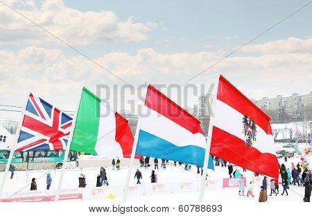 Perm, Russia - Jan 6, 2014: Flags Of Participating Countries (great Britain, Italy, Netherlands, Aus