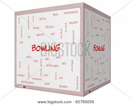 Bowling Word Cloud Concept On A 3D Cube Whiteboard