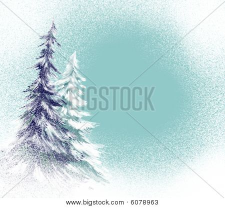 christmas tree or pine trees in blue blizzard background