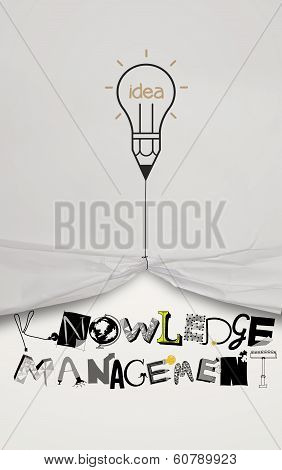Pencil Lightbulb Idea Draw Rope Open Wrinkled Paper Show Graphic Design Word Knowledge Manegement As