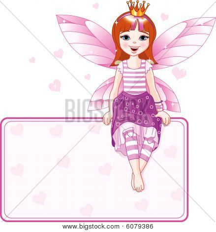 Little pink fairy place card