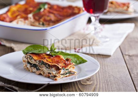Vegan lasagna with tofu