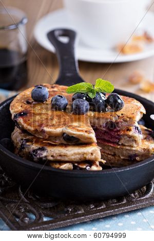 Pancakes with banana and blueberries