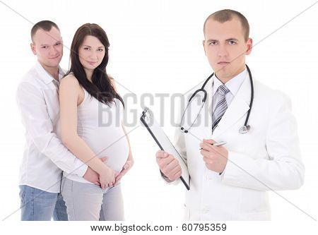 Young Beautiful Pregnant Woman With Her Husband And Gynecologist Isolated On White
