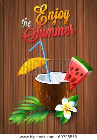 Travel colorful tropical design. coconut cocktail with umbrella and watermelon. summer background