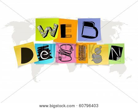 Hand Drawn Web Design On Sticky Note And World Map Background As Concept