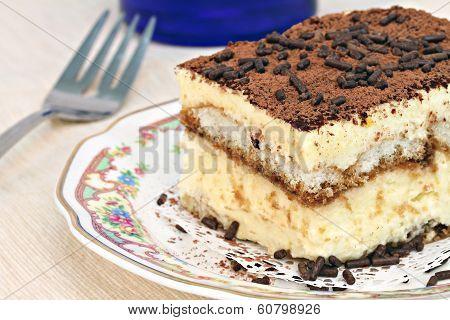 Italian Tiramisu Cake Macro With Selective Focus On Edge.