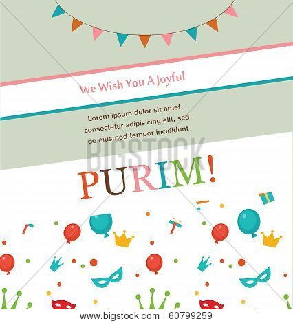 Jewish holiday Purim hipster greeting card design