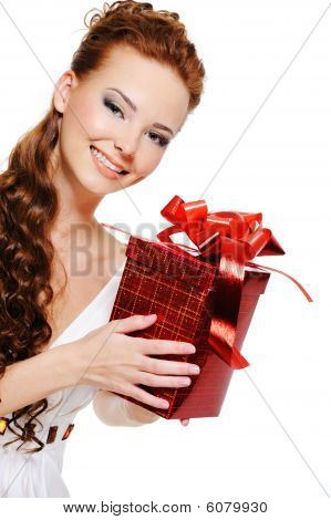 Look Out Beautiful Smiling Woman With Red Box