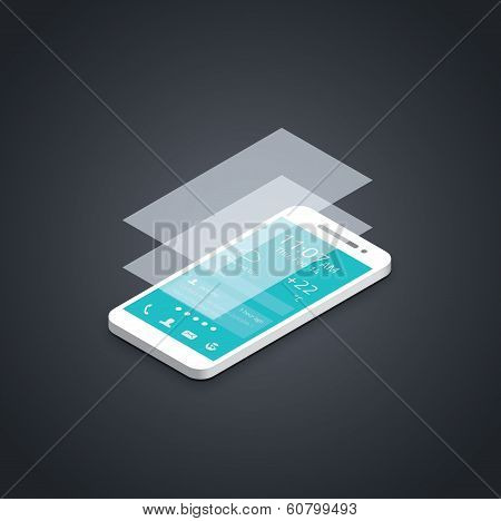 Mobile phone flat user interface development vector illustration.