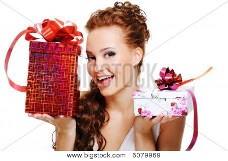Happy Woman Choosing Between Two Presents