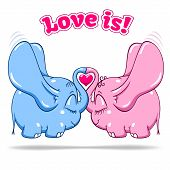 winged baby elephant in love on white