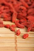 picture of tablespoon  - Healthy food organic nutrition.Wooden tablespoon of dried goji berries