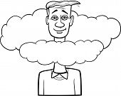picture of unawares  - Black and White Cartoon Humor Concept Illustration of Head in the Clouds Saying or Proverb for Coloring Book - JPG