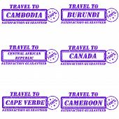 stock photo of burundi  - Set of stamps travel to cambodia - JPG
