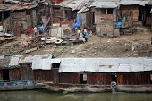SRINAGAR, JAMMU AND KASHMIR, INDIA - JULY 20, 2006: Slum houses in Srinagar