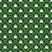 Green And White Marijuana Leaf Pattern Repeat Background