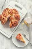stock photo of dog-rose  - Rose cake traditional italian pastry with dog hip jam - JPG