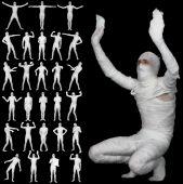 Collection Of Bandaged Mummies Isolated On Black Background
