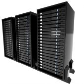 image of mainframe  - a 3d illustration of server mainframes with a white background - JPG