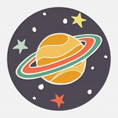 stock photo of saturn  - Hand drawn cartoon planet and stars - JPG