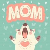 Greeting card for mom with cute puppy.