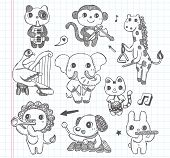 Doodle Animal Music Band Icons Set