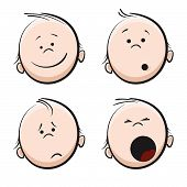 stock photo of baby face  - Artistic vector illustration of cartoon doodle faces - JPG