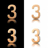 Three Dimensional Wooden Number 3. Isolated On White And Black.