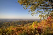 stock photo of knoxville tennessee  - A colorful scenic view of the Tennessee Valley looking toward Maryville and Knoxville Tennessee USA from Foothills Parkway West near Great Smoky Mountains National Park. This is a view to the North in full Autumn color.