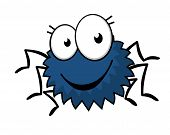 picture of googly-eyes  - Cute little spiky cartoon  spider with six legs - JPG